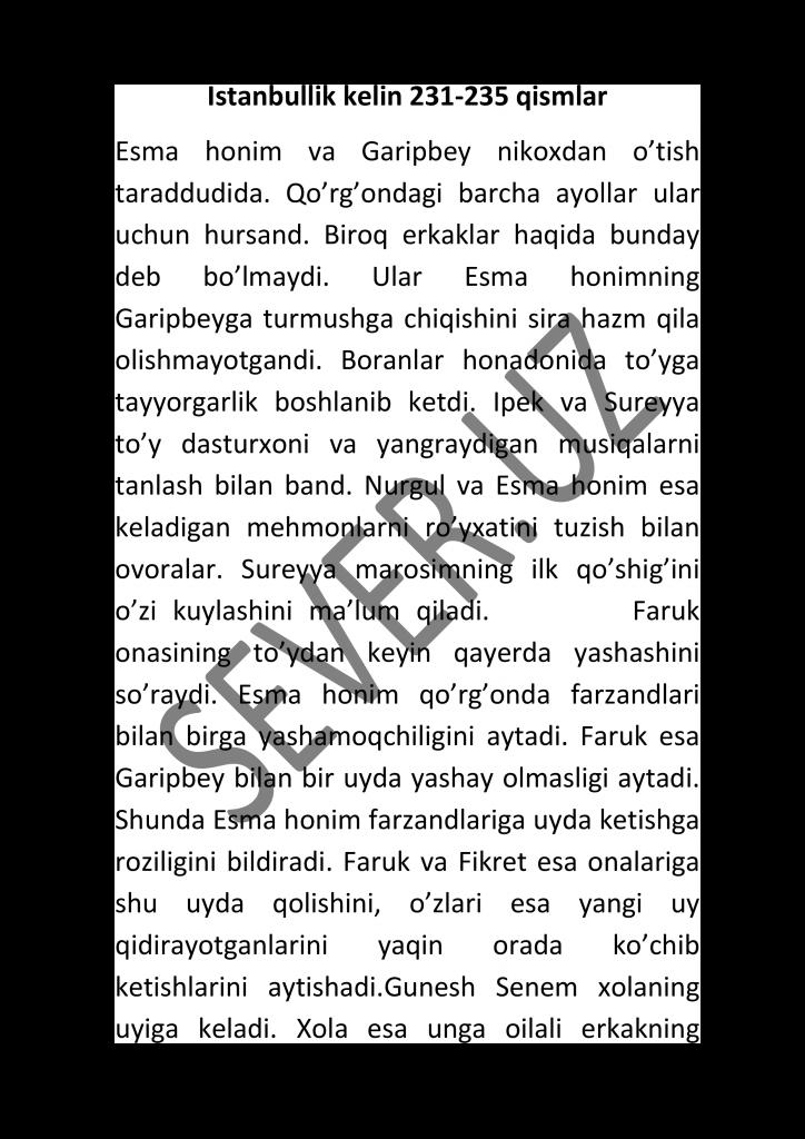 Istanbullik kelin 231-232-223-234-235 qismlar